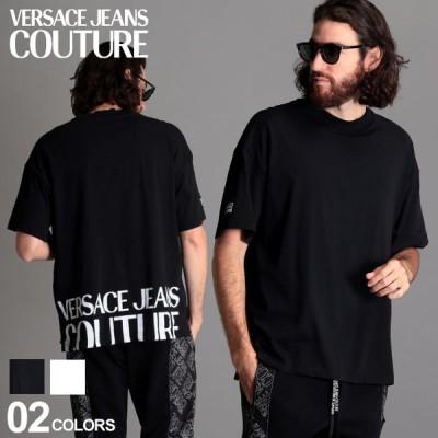 ヴェルサーチ メンズ Tシャツ 半袖 VERSACE JEANS COUTURE ヴェルサーチェ ジーンズクチュール ロゴ バックプリント クルーネック ブランド VCB3GZB71611620
