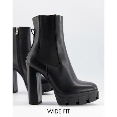 シミ Simmi Wide Fit レディース ブーツ ショートブーツ チャンキーヒール Simmi London Wide Fit Roxi Heeled Ankle Boots With Chunky Soles In Black