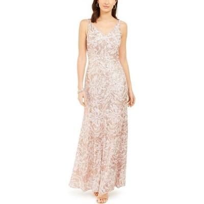 ナイトウェイ Nightway レディース パーティードレス ワンピース・ドレス Metallic Sequin-Print Gown Champagne/Pink/Gold