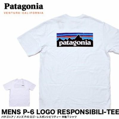 Patagonia パタゴニア Tシャツ 38504 Patagonia パタゴニア ロゴ Tシャツ メンズ P-6ロゴ・レスポンシビリティー Tシャツ ホワイト 白 (