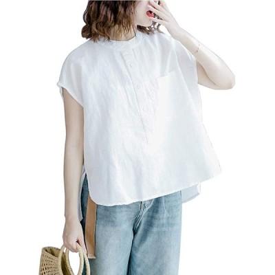 シャツ 夏 プルオーバー オーバーサイズ レディースファッション 綿麻シャツ 立ち襟 ノースリーブ ゆったり 前後差 (白, ワンサイズ)