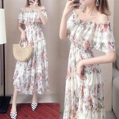 マキシワンピース  レディースワンピース 夏服 ボートネック 花柄 シフォンワンピ 可愛い 上品 綺麗め プリーツスカート