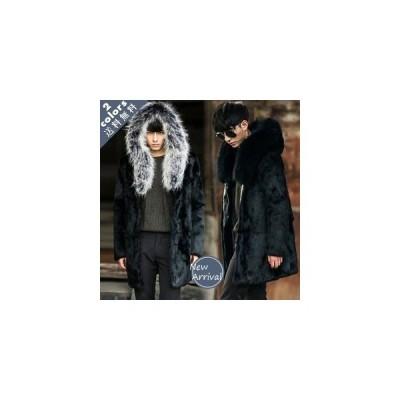 毛皮コート メンズ ファーコート  帽子付き 大きいサイズ 防寒 ロング丈 カッコイイ あったか ファッション アウター おしゃれ