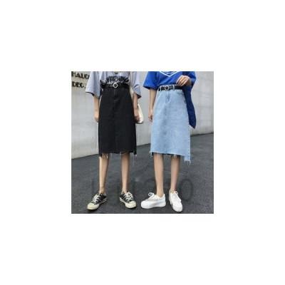レディースデニムスカートスカートひざ丈スカートスリット夏新作Aラインスカート不規則ブラックブルー着痩せ美脚効果おしゃれ