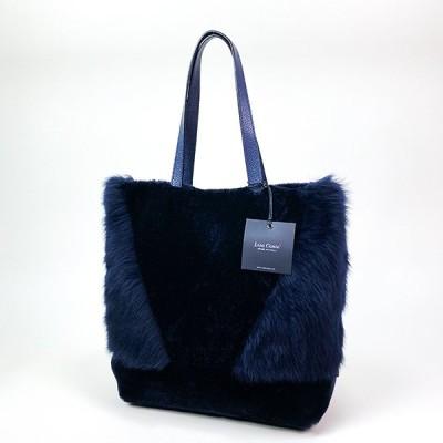 LISA CONTE /リサ・コンテ ムートン A4サイズトートバッグ BLUE/ネイビー