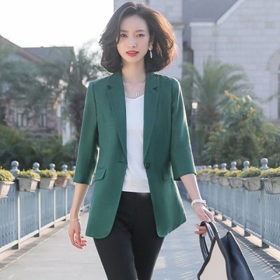 テーラードジャケット レディース 大きいサイズ 7分袖 サマージャケット 薄手 通勤 OL オフィス スーツジャケット オリーブ ホワイトジャケット