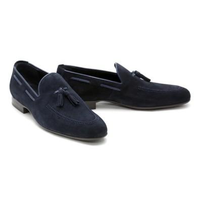 メンズ ローファー カジュアル ネイビー 革靴 本革 クインクラシコ ドレスシューズ 88011nv ネイビー スエードタッセルローファーラバーソール