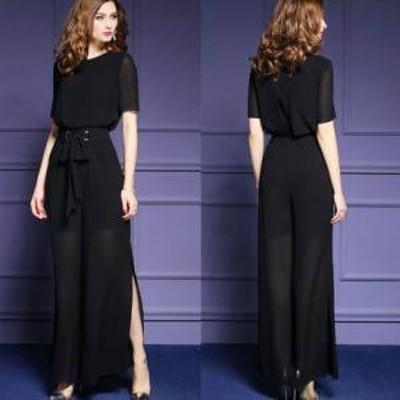 ドレス ワンピース サロペット 半袖 ブラック シースルー スリット フォーマル 上品 春夏 結婚式 お呼ばれ  a432