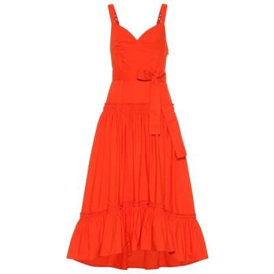 プロエンザ スクーラー Proenza Schouler レディース ワンピース ミドル丈 ワンピース・ドレス Cotton-poplin midi dress Orange
