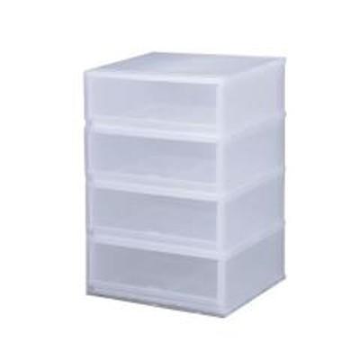 収納ケース プラスト PHOTO 4段 幅51×高さ75.5cm PH5104(  収納ボックス 収納チェスト 引き出し プラスチック 透明 おもちゃ箱 小物入れ 積み重ね 収納BOX 衣裳ケース スタッキング 衣類収納  クローゼット )