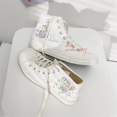 レディース スニーカー カジュアルシューズ ズック靴 ウォーキング 女子靴 可愛い ハイカット くまちゃん フラットシューズ