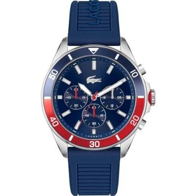 ラコステ LACOSTE メンズ 腕時計 クロノグラフ Tiebreaker Silicone Strap Chronograph Watch, 44mm Blue