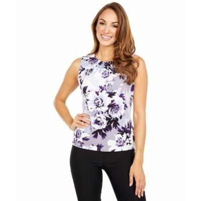 カルバンクライン シャツ トップス レディース Floral Pleat Neck Cami Dark Purple Multi