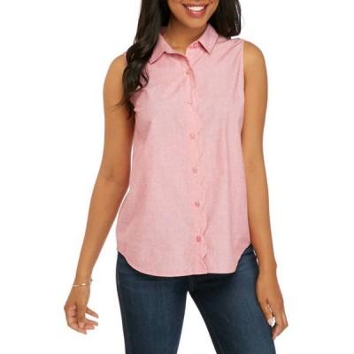 キム ロジャース レディース シャツ トップス Women's Sleeveless Scallop Placket Shirt