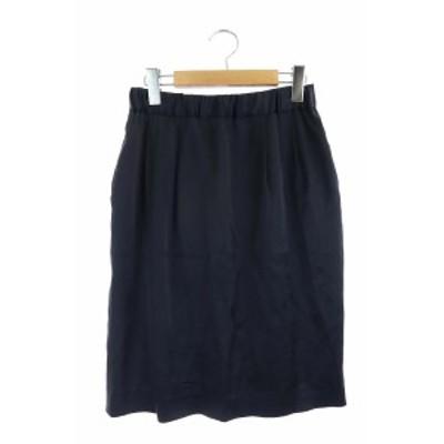 【中古】ユナイテッドアローズ UNITED ARROWS サテンタイトスカート 膝丈 36 紺 /AO ■OS レディース
