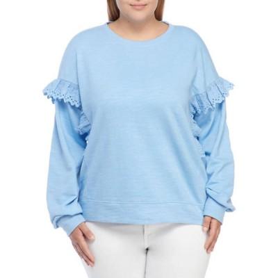 クラウン&アイビー レディース パーカー・スウェット アウター Plus Size Long Sleeve Ruffle Sweatshirt