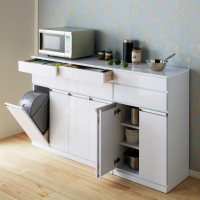 光沢仕上げ腰高カウンター収納シリーズ キッチン収納庫 幅55.5cm ホワイト