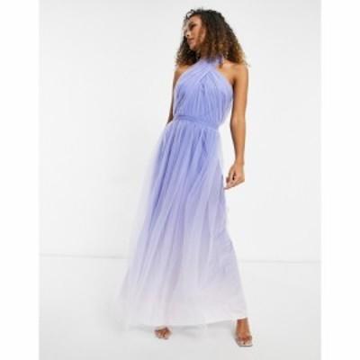 チチロンドン Chi Chi London レディース ワンピース マキシ丈 ワンピース・ドレス High Neck Ombre Maxi Dress In Blue ブルー