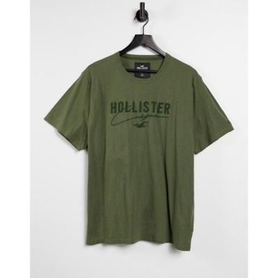 ホリスター Hollister メンズ Tシャツ トップス tonal tech logo t-shirt in olive marl オリーブブラウン