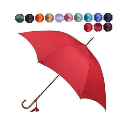 [ワカオ] スリム 雨傘 長傘 軽量 スタイリッシュ 天然木 日本製 レッド(8)
