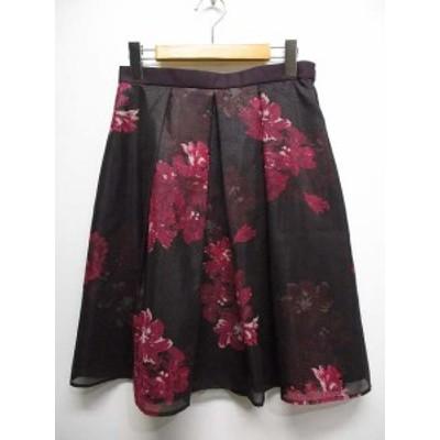 【中古】ケティ KETTY 美品 花柄 レイヤード オーガンジー スカート 3 ボルドー ひざ丈 裏地付き 日本製 レディース