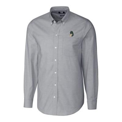 """メンズ シャツ """"Michigan State Spartans"""" Cutter - Buck Stretch Vault Logo Oxford Long Sleeve Shirt - Charcoal"""