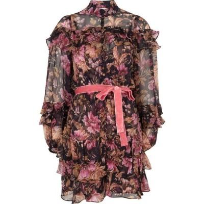 ジマーマン Zimmermann レディース パーティードレス ミニ丈 ワンピース・ドレス Lucky floral-print silk-chiffon mini dress Black