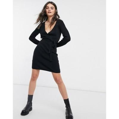 ヴィラ レディース ワンピース トップス Vila knitted wrap mini dress in black