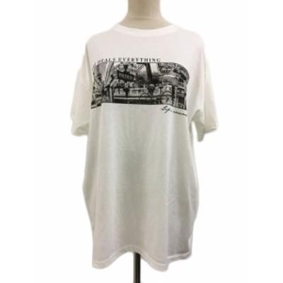 【中古】レイカズン Ray cassin FAVORI Tシャツ チュニック クルーネック プリント 半袖 F 白 ホワイト レディース