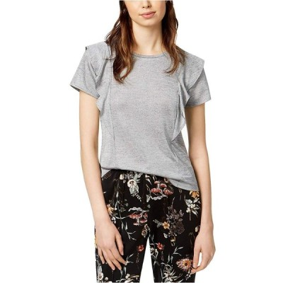 Bar III Women's Ruffled T-Shirt (Med Heather Grey, Large)