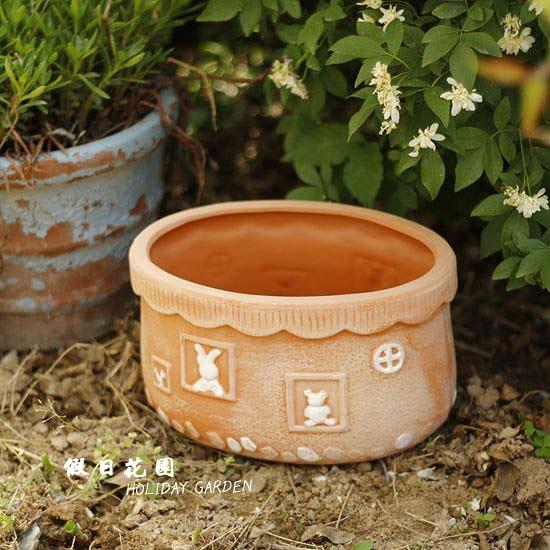 人氣假日花園外貿新品紅陶地面花卉桌面田園組合拼盤