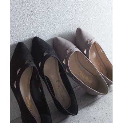 パンプス レディース カットワーク ポインテッドトゥ フラット 靴 グレー/ブラック 22.0~22.5/23.0~23.5/24/24.5cm ニッセン
