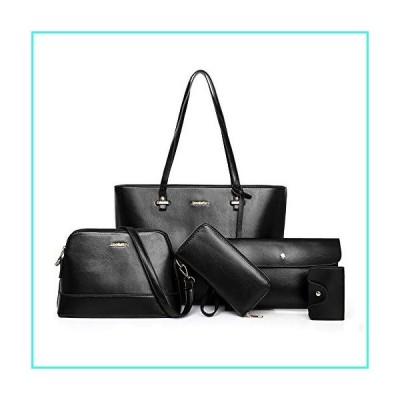 【新品】Women Tote Handbags Set, 5 Pack Hobo Bag Shoulder Crossbody Wrist Clutch Purse Wallet Set, Black(並行輸入品)