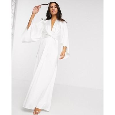 エイソス ASOS EDITION レディース パーティードレス ウェディングドレス マキシ丈 extreme cape sleeve maxi wedding dress in ivory アイボリー