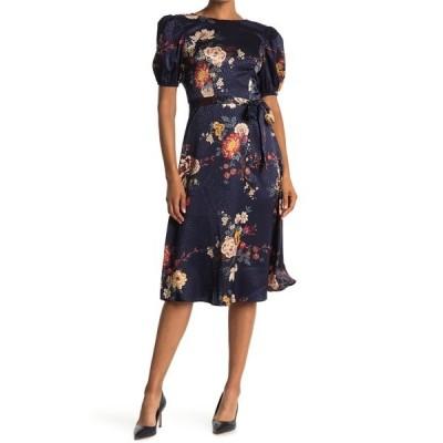 ロンドンタイムス レディース ワンピース トップス Floral Puff Sleeve Satin Jacquard Dress NAVY MULTI