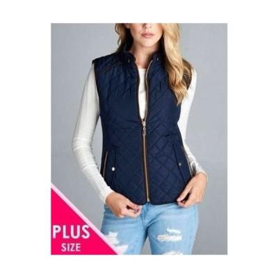 コート ジャケット ベスト レディース エーシー DK NAVY Women's Quilted Padded Vest with Suede Piping Detail(1XL  2XL  3XL PLUS SIZE