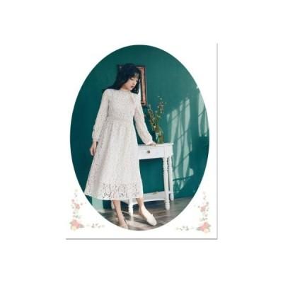ビンテージ風 レース ワンピース/丸首/ロング/シングルブレストレースドレス/花/長袖