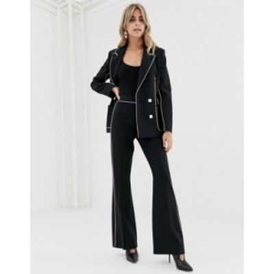 エイソス レディース カジュアルパンツ ボトムス ASOS DESIGN slim suit flare with contrast piping Black