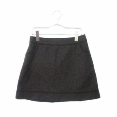 【中古】ジャイロホワイト JAYRO white スカート 台形 ミニ ウール 2 黒 ブラック ☆S☆ amy0621 レディース