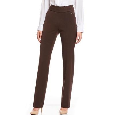 インベストメンツ レディース カジュアルパンツ ボトムス the PARK AVE fit Stretch Straight Leg Pull-On Pant with Pockets Coffee