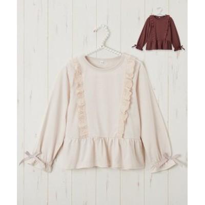 Tシャツ カットソー レース使い フリル 女の子 子供服 アイボリー/ブラウン 身長110/120/130cm ニッセン