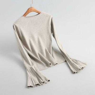 レディース 秋 トップス ニットセーター 薄手 ニットソー 無地  上着 オシャレ 長袖