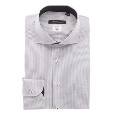 ドレスシャツ/長袖/メンズ/COOL MAX/SUPER EASY CARE/ホリゾンタルカラードレスシャツ/EC・BASIC ネイビー