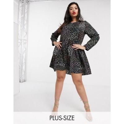 ネバーフリードレス Never Fully Dressed Plus レディース ワンピース ワンピース・ドレス swing mini dress in meadow floral print マルチカラー