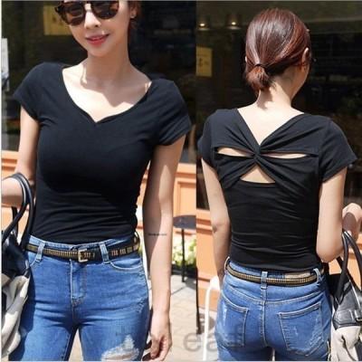 トップスレディースカットソーTシャツ半袖背中見せセクシーフェミニン可愛いシンプル春夏