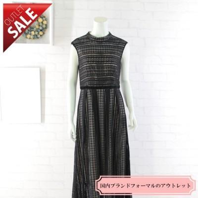 50%OFF 結婚式 二次会 ドレス ロング |幾何学ニットレースドレス9号(ブラック)