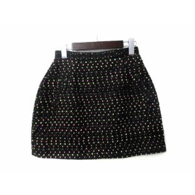 【中古】マーキュリーリュクス MercuryLUX スカート M 黒 ブラック ウール混 ツイード フレア レディース