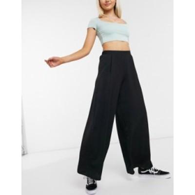 ニュールック レディース カジュアルパンツ ボトムス New Look wide leg pants in black Black pattern