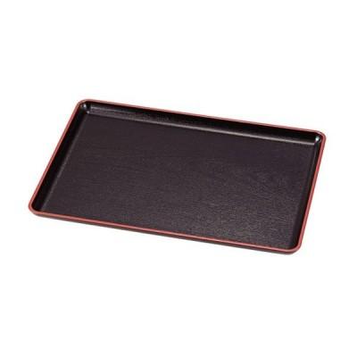 お盆 40×28cm トレー 長盆 恵比寿盆 黒天朱 尺3寸 日本製 ( トレイ お盆 和菓子 和食器 菓子皿 和風 )
