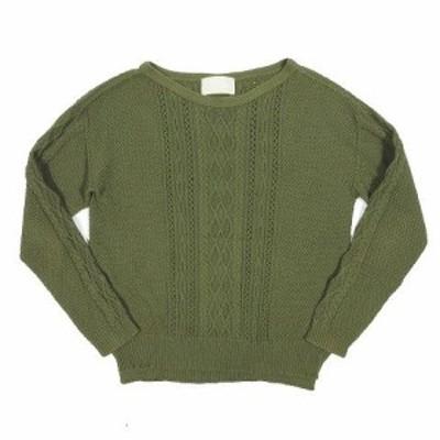 【中古】アンタイトル UNTITLED ケーブル編み コットン ニット セーター 長袖 プルオーバー 2 緑 ◎B4 レディース